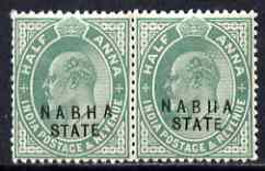 Indian States - Nabha 1903-09 KE7 1/2a green horiz pair, one stamp with