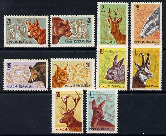 Rumania 1961 Forest Animals set of 10 unmounted mint, SG 2852-61, Mi 1981-90, stamps on animals, stamps on deer, stamps on lynx , stamps on boar, stamps on bears, stamps on swine, stamps on hares.badgers, stamps on  fox , stamps on foxes, stamps on
