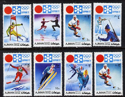 Ajman 1971 Sapporo Winter Olympics perf set of 8 (Mi 1107-14A) unmounted mint, stamps on sport    skiing    biathlon    skating    bobsled    ice hockey    olympics