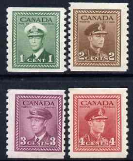 Canada 1942-48 KG6 coil set of 4 imperf x perf 9.5 mtd mint SG 397-98a