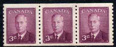 Canada 1950 KG6 coil 3c purple imperf x perf 9.5 strip of 3 mtd mint SG 430