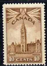 Canada 1942-48 KG6 War Effort 10c Parliament Building mtd mint SG 383
