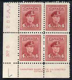 Canada 1942-48 KG6 War effort 4c corner Plate No.5 block of 4, 2 stamps unmounted mint as SG380