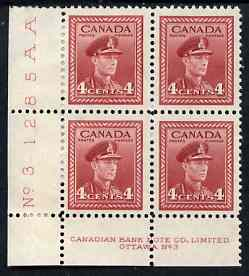 Canada 1942-48 KG6 War effort 4c corner Plate No.3 block of 4, 2 stamps unmounted mint, 2 with paper adhesion, as SG380