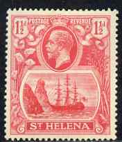St Helena 1922-37 KG5 Badge Script 1.5d rose-red single with variety 'Bottom vignette frame line broken at left, thinned at centre and left frame line weak at top of rock' (stamp 20) mtd mint SG 99var