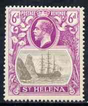 St Helena 1922-37 KG5 Badge Script 6d single with variety 'Bottom vignette frame line broken twice' (stamp 24) mtd mint SG 104var, stamps on , stamps on  kg5 , stamps on ships, stamps on