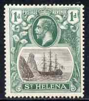 St Helena 1922-37 KG5 Badge Script 1d single with variety 'Right vignette frame line dented' (stamp 27) mtd mint SG 98var