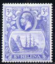 St Helena 1922-37 KG5 Badge Script 3d single with variety 'Right vignette frame line dented' (stamp 27) mtd mint SG 101var