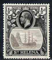 St Helena 1922-37 KG5 Badge Script 1/2d single with variety 'Top vignette frame line broken, Scratch across 3 lines of shading in front of rock and thin scratch through hull' (stamp 29) mtd mint SG 97var