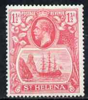 St Helena 1922-37 KG5 Badge Script 1.5d rose-red single with variety 'Top vignette frame line broken, Scratch across 3 lines of shading in front of rock and thin scratch through hull' (stamp 29) mtd mint SG 99var