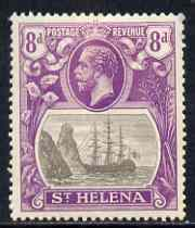 St Helena 1922-37 KG5 Badge Script 8d single with variety '11th line of shading broken to right of mizzen mast and rope broken at top of mizzen peak' (stamp 32) mtd mint SG 105var