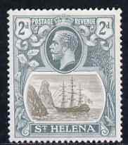 St Helena 1922-37 KG5 Badge Script 2d single with variety '11th line of shading broken to right of mizzen mast and rope broken at top of mizzen peak' (stamp 32) mtd mint SG 100var