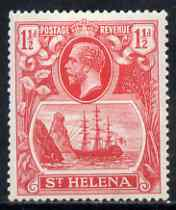 St Helena 1922-37 KG5 Badge Script 1.5d rose-red single with variety 'Right vignette frame broken between 3rd & 4th lines of shading' (stamp 46) mtd mint SG 99var