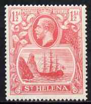 St Helena 1922-37 KG5 Badge Script 1.5d rose-red single with variety 'Left vignette frame broken at centre, 8th line of shading broken by mizzen mast & 18th line damaged at right' (stamp 48) mtd mint SG 99var