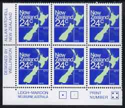 New Zealand 1982 Map Stamp 24c P14.5 x 14 corner plate block of 6 (Print No.4) unmounted mint SG1261