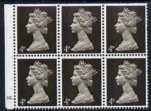 Booklet Pane - Great Britain 1967-70 Machin 4d sepia 2 bands booklet pane of 6 with cyl N1 dot unmounted mint