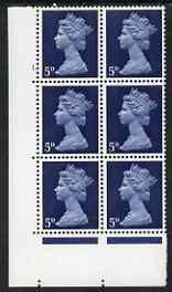 Great Britain 1967-70 Machin 5d blue cyl 1 dot block of 6 unmounted mint