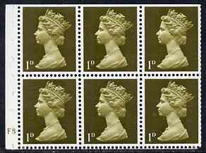 Booklet Pane - Great Britain 1967-70 Machin 1d olive booklet pane of 6 with cyl F3 no dot unmounted mint