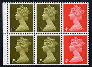 Booklet Pane - Great Britain 1967-79 Machin 1d/4d vermilion booklet pane of 6 unmounted mint (reasonable perfs)