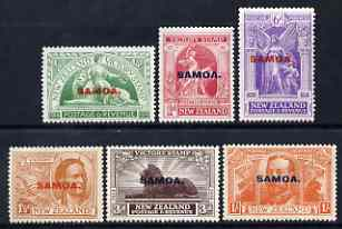 Samoa 1920 Victory set of 6 mtd mint, SG 143-48