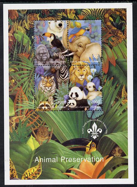 Batum 1996 Animal Preservation sheetlet containing set of 4 (with Scout Logo) unmounted mint