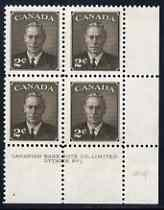 Canada 1950 KG6 2c sepia (without Postage Postes) corner plate No.1 block of 4 unmounted mint, SG 425, stamps on , stamps on  kg6 , stamps on