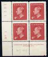 Canada 1950 KG6 4c carmine (without Postage Postes) corner plate No.1 block of 4 unmounted mint, SG 427