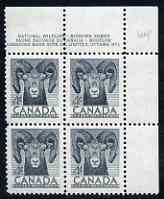 Canada 1953 Wildlife Week 4c Bighorn corner plate No.1 block of 4 unmounted mint, SG 449