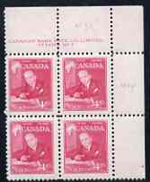 Canada 1951 Prime Ministers 4c MacKenzie King corner plate No.2 block of 4 unmounted mint, SG 435
