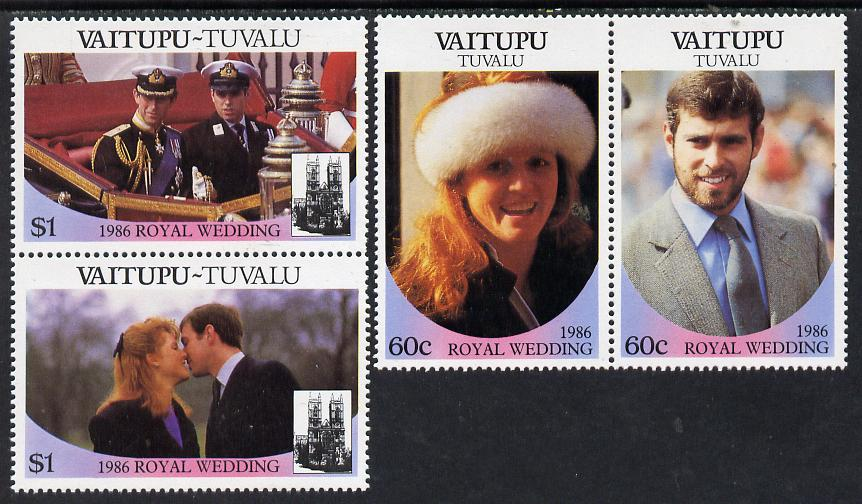 Tuvalu - Vaitupu 1986 Royal Wedding (Andrew & Fergie) set of 4 (2 se-tenant pairs) unmounted mint