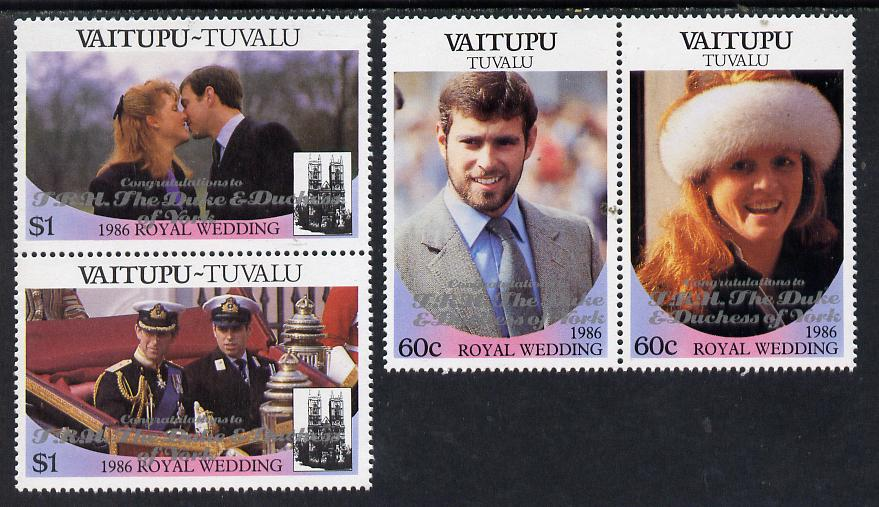 Tuvalu - Vaitupu 1986 Royal Wedding (Andrew & Fergie) set of 4 (2 se-tenant pairs) with 'Congratulations' opt in silver unmounted mint