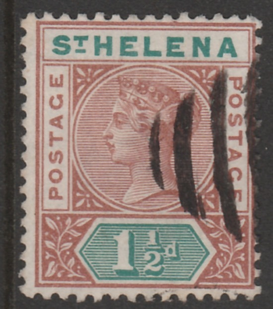 St Helena 1890-97 QV Key Plate 1.5d fine used with selected cork cancel SG48