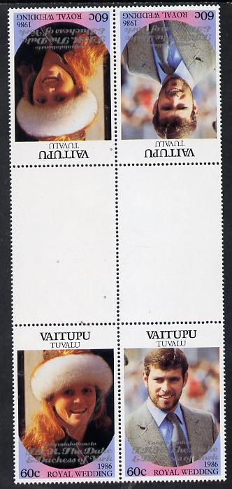 Tuvalu - Vaitupu 1986 Royal Wedding (Andrew & Fergie) 60c with 'Congratulations' opt in silver in unissued perf tete-beche inter-paneau block of 4 (2 se-tenant pairs) unmounted mint from Printer's uncut proof sheet