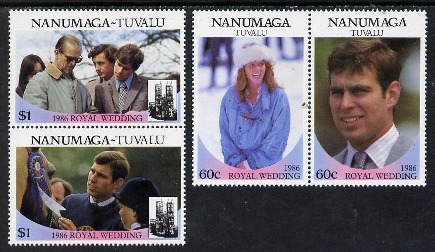 Tuvalu - Nanumaga 1986 Royal Wedding (Andrew & Fergie) set of 4 (2 se-tenant pairs) unmounted mint