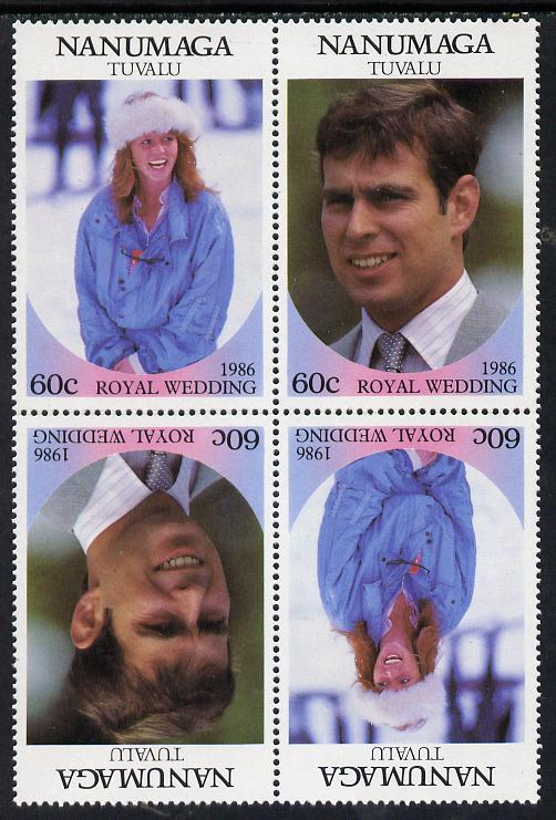 Tuvalu - Nanumaga 1986 Royal Wedding (Andrew & Fergie) 60c in unissued perf tete-beche block of 4 (2 se-tenant pairs) unmounted mint