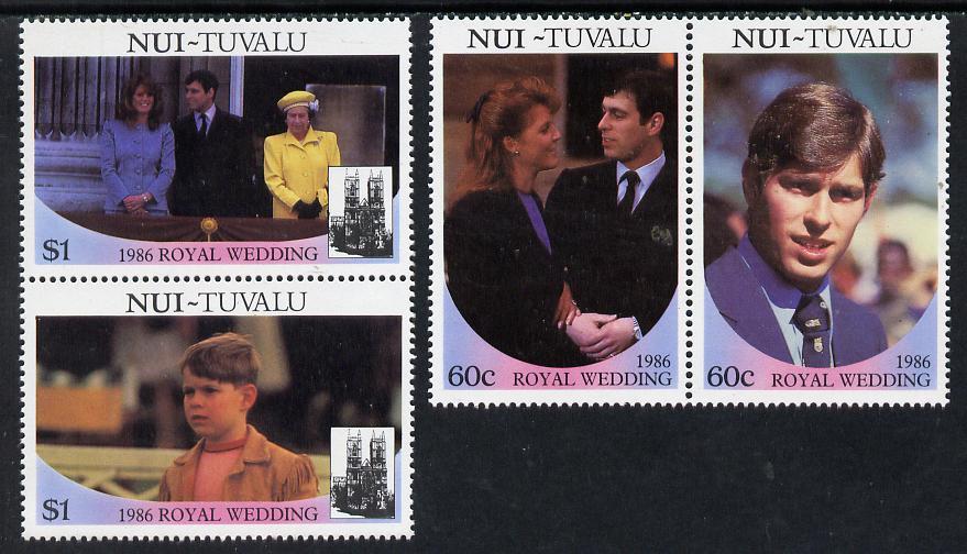 Tuvalu - Nui 1986 Royal Wedding (Andrew & Fergie) set of 4 (2 se-tenant pairs) unmounted mint
