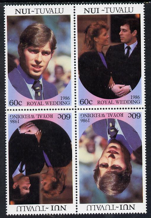 Tuvalu - Nui 1986 Royal Wedding (Andrew & Fergie) 60c in unissued perf tete-beche block of 4 (2 se-tenant pairs) unmounted mint from uncut proof sheet