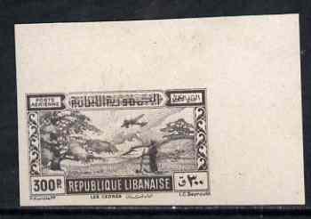 Lebanon 1945 300p black imperf corner single mounted mint