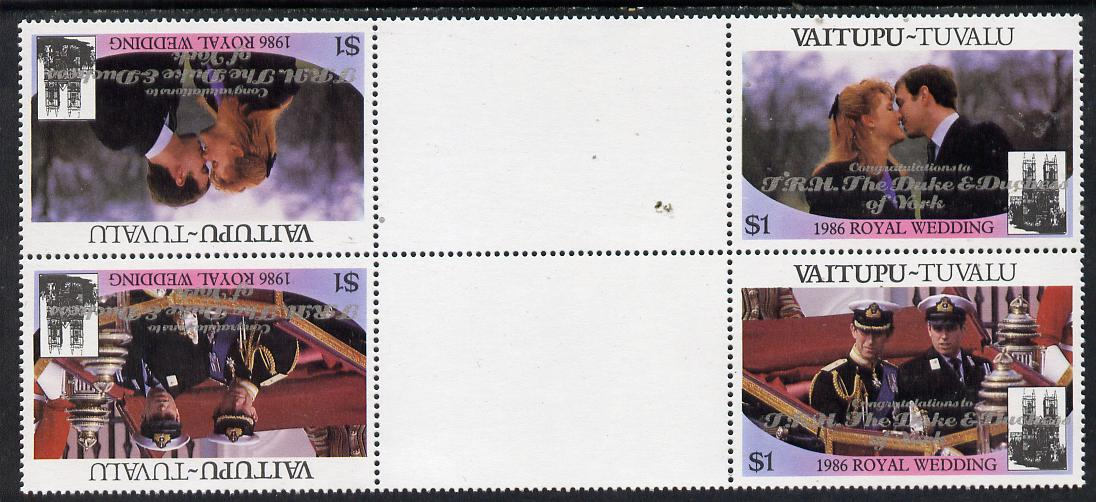Tuvalu - Vaitupu 1986 Royal Wedding (Andrew & Fergie) $1 with 'Congratulations' opt in silver in unissued perf tete-beche inter-paneau block of 4 (2 se-tenant pairs) unmounted mint from Printer's uncut proof sheet