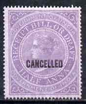 India 1860 QV Receipt Bill or Draft 1/2a lilac opt'd CANCELLED slightly disturbed gum (Revenue)