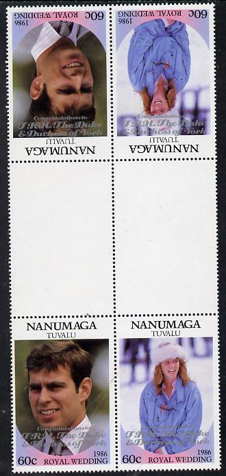 Tuvalu - Nanumaga 1986 Royal Wedding (Andrew & Fergie) 60c with 'Congratulations' opt in silver in unissued perf tete-beche inter-paneau block of 4 (2 se-tenant pairs) unmounted mint from Printer's uncut proof sheet