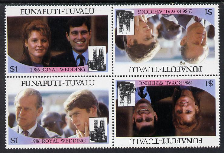 Tuvalu - Funafuti 1986 Royal Wedding (Andrew & Fergie) $1 in unissued perf tete-beche block of 4 (2 se-tenant pairs) unmounted mint from uncut proof sheet