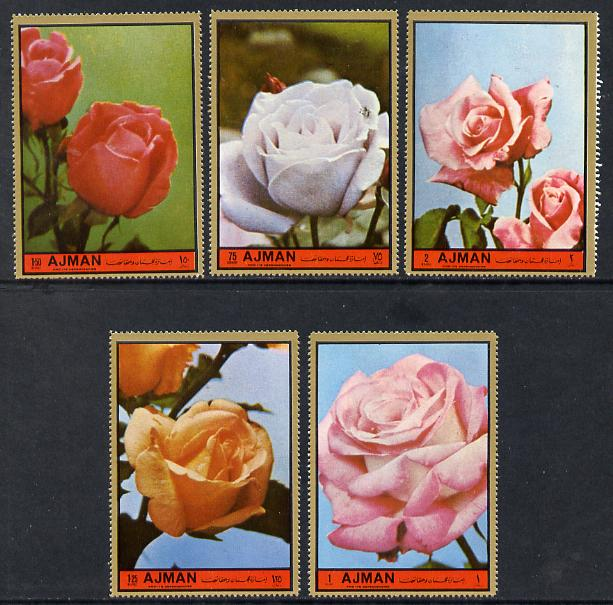 Ajman 1972 Roses #7 perf set of 5 unmounted mint, Mi 2089-93
