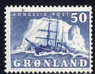 Greenland 1950-60 Polar Ship 50o blue mtd mint SG 33