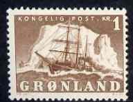 Greenland 1950-60 Polar Ship 1k brown mtd mint SG 34