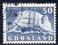 Greenland 1950-60 Polar Ship 50o blue fine used SG 33