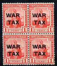Trinidad & Tobago 1917 War Tax 1d block of 4 unmounted mint SG182