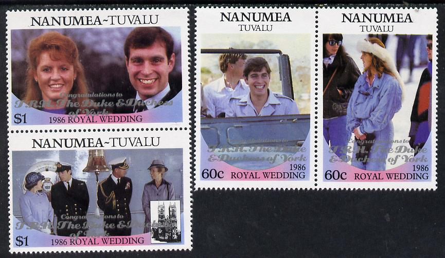 Tuvalu - Nanumea 1986 Royal Wedding (Andrew & Fergie) set of 4 (2 se-tenant pairs) with 'Congratulations' opt in silver unmounted mint