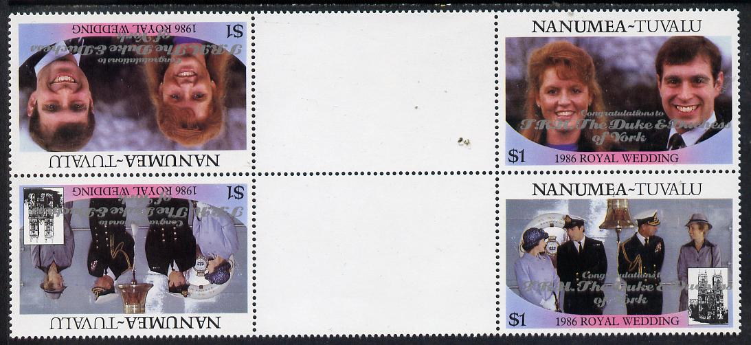 Tuvalu - Nanumea 1986 Royal Wedding (Andrew & Fergie) $1 with 'Congratulations' opt in silver in unissued perf tete-beche inter-paneau block of 4 (2 se-tenant pairs) unmounted mint from Printer's uncut proof sheet