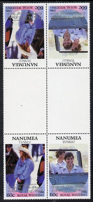 Tuvalu - Nanumea 1986 Royal Wedding (Andrew & Fergie) 60c with 'Congratulations' opt in silver in unissued perf tete-beche inter-paneau block of 4 (2 se-tenant pairs) unmounted mint from Printer's uncut proof sheet
